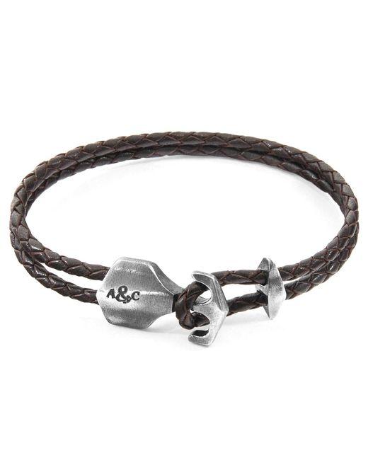 Anchor & Crew - Metallic Dark Brown Delta Anchor Silver & Braided Leather Bracelet for Men - Lyst