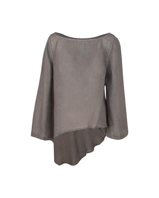 Haris Cotton Gray Linen Gauze Asymmetrical Long Sleeves Blouse