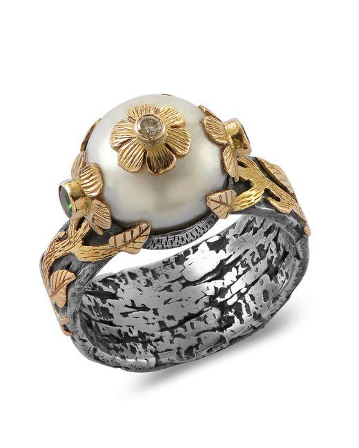 Emma Chapman Jewels White Marie Antoinette Pearl Diamond Ring