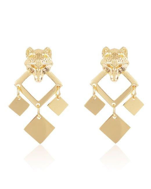 Alexa K - Metallic 18kt Gold Plated Brass Night Wolf Earrings - Lyst