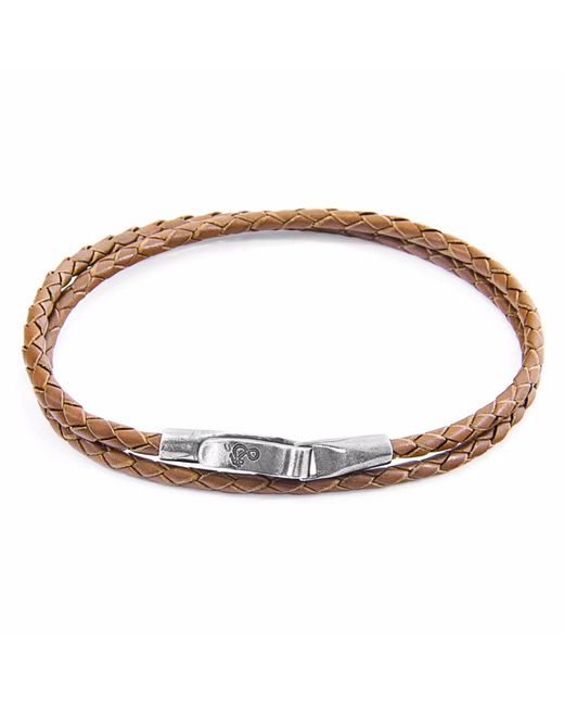 Anchor & Crew | Dark Brown Liverpool Silver & Leather Bracelet | Lyst