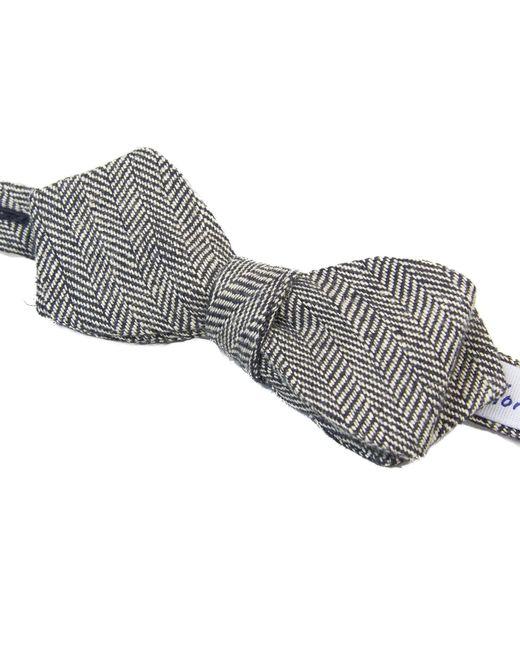 40 Colori Black & Silver Herringbone Linen Spencer Bow Tie for men