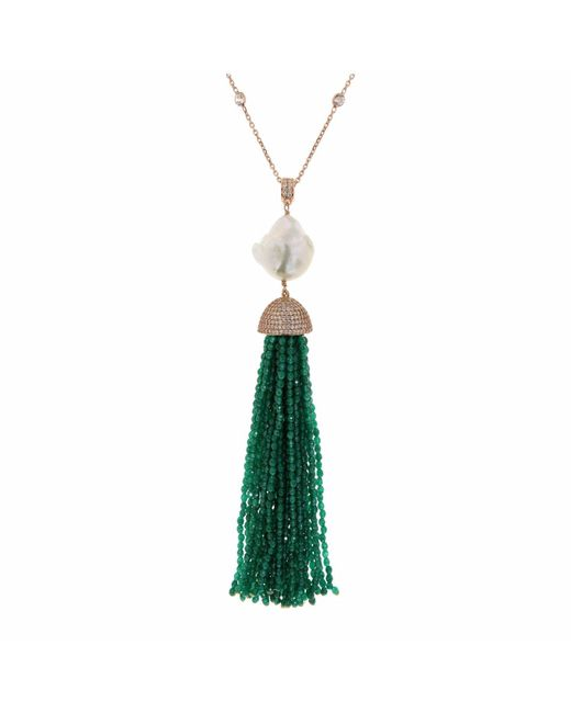 Cosanuova Green Jade Baroque Tassel Necklace