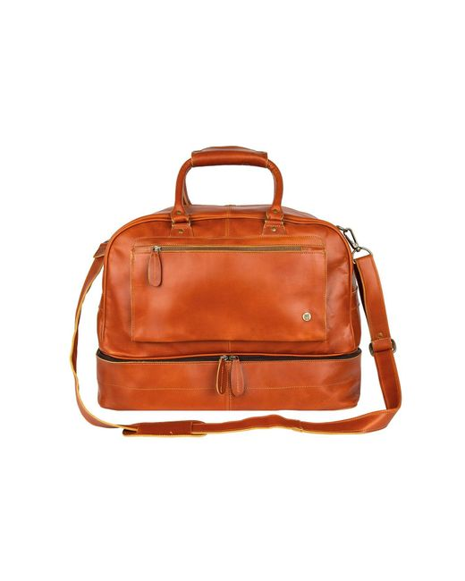MAHI Leather Brown Large Buffalo Leather Raleigh Holdall Bag With Under Compartment In Tan for men