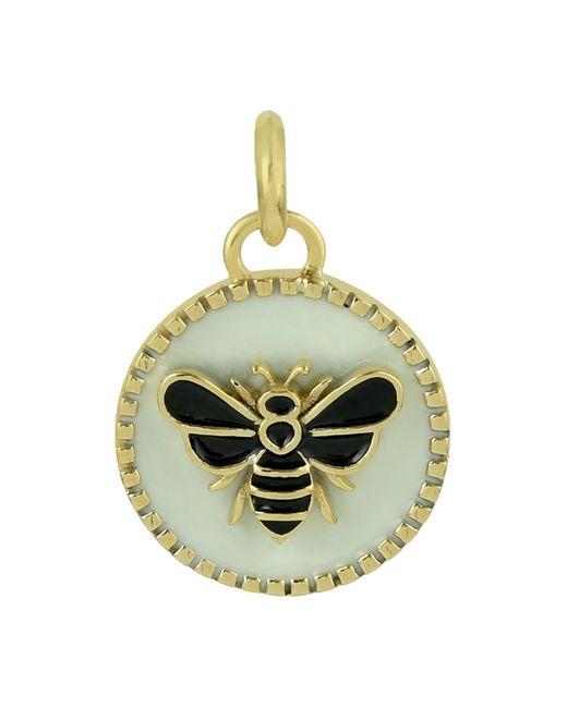 Artisan Metallic 14k Gold Bee Enamel Charm Handmade Jewelry