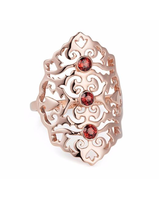 Neola - Multicolor Jade Rose Gold Cocktail Ring With Red Onyx - Lyst