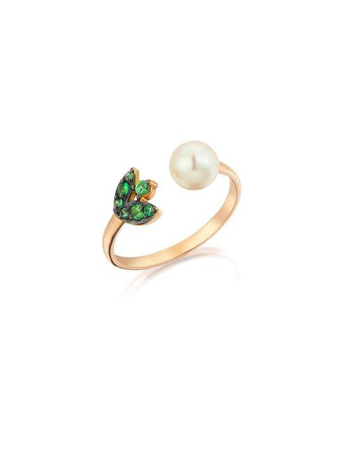 Sadekar Jewellery   Green Garnet & Pearl Flower Ring   Lyst