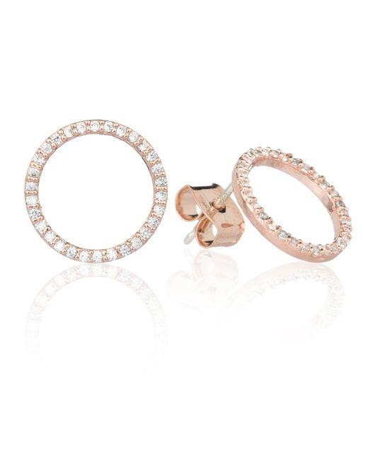 Astrid & Miyu - Metallic Tuxedo Circle Stud Earrings In Rose Gold - Lyst