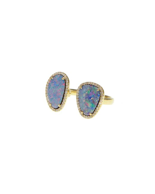 Ri Noor - Metallic Double Opal Slice Diamond Ring - Lyst