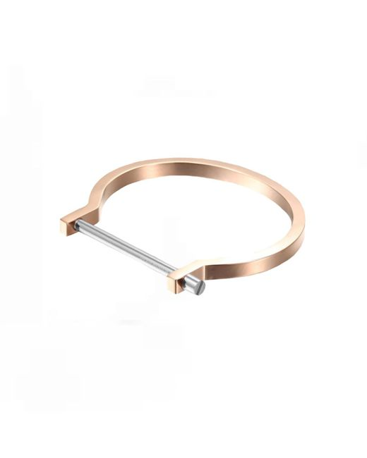 Opes Robur | Metallic Rose Gold & Silver Classic Screw Cuff Bracelet | Lyst