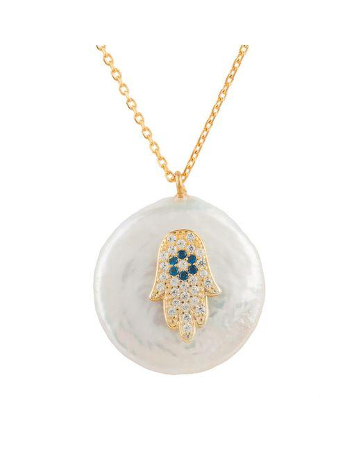 Latelita London - Metallic Pearl & Hamsa Necklace Gold - Lyst