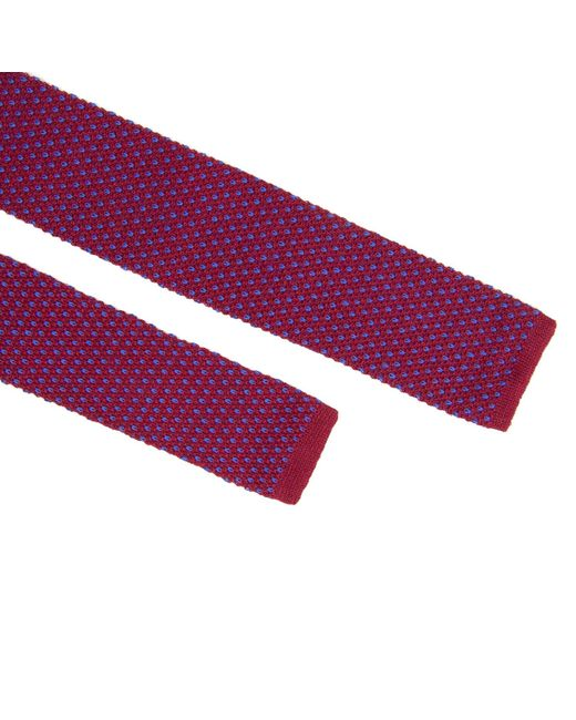 40 Colori Purple Magenta & Blue Small Dotted Linen Knitted Tie for men