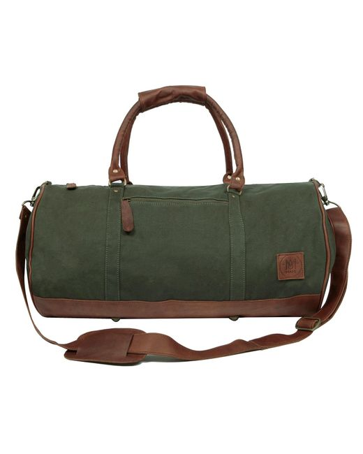 MAHI Leather - Gym Duffle In Green Canvas And Brown Leather for Men - Lyst