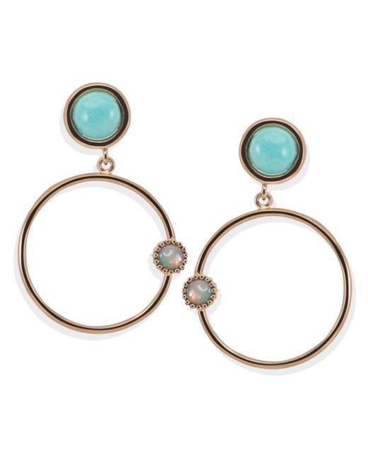 Vintouch Italy - Metallic Satellite Rose Gold Amazonite Hoop Earrings - Lyst