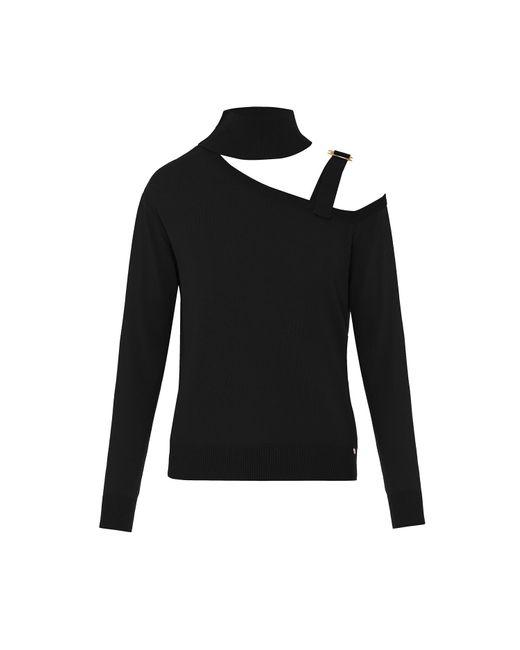 Nissa Black Cutout Turtleneck Sweater