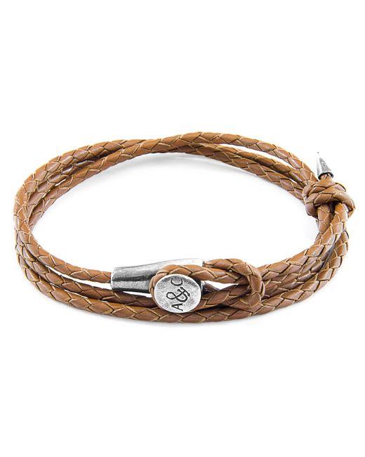 Anchor & Crew - Dark Brown Clyde Silver & Leather Bracelet for Men - Lyst