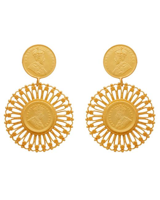 Carousel Jewels - Multicolor Matte Antique Coin Vermeil Earrings - Lyst