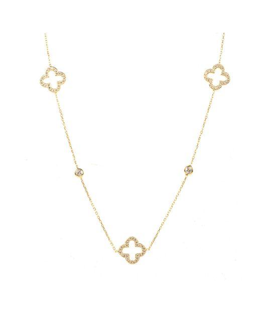 Latelita London - Metallic Open Clover Long Necklace Gold - Lyst