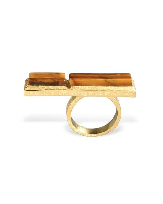 Ona Chan Jewelry | Metallic Long Rectangle Ring With Tiger's Eye | Lyst