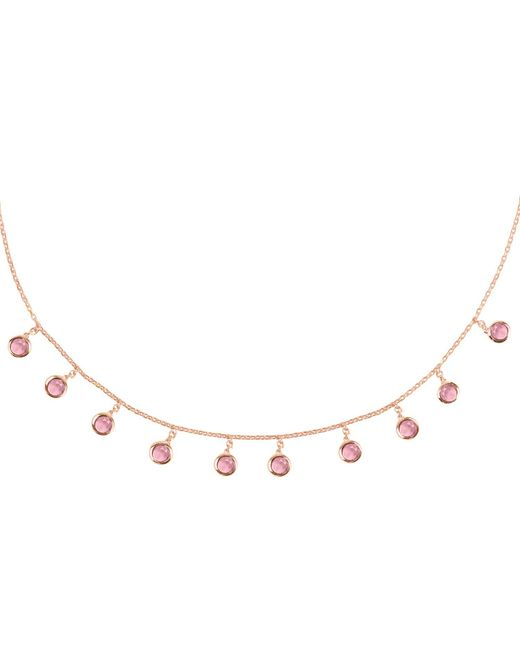 Latelita London - Florence Round Gemstone Necklace Rosegold Pink Tourmaline - Lyst