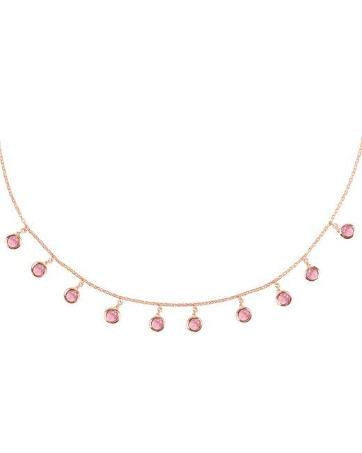 Latelita London - Florence Round Gemstone Necklace Rosegold Pink Tourmaline - Lyst