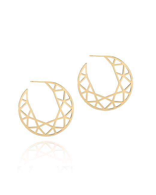 Myia Bonner Metallic Gold Brilliant Diamond Hoop Earrings