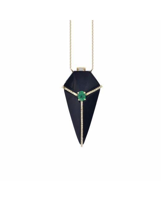 Ri Noor - Black Onyx Pendant Necklace With Diamonds & Emeralds - Lyst