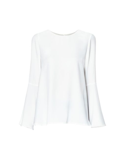 Paisie - Round Neck Top With Flared Cuffs In White - Lyst