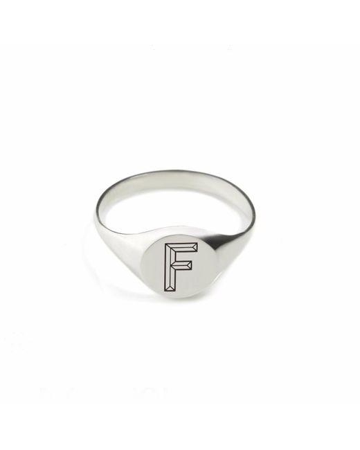 Myia Bonner | Metallic Silver F Facett Initial Signet Ring | Lyst