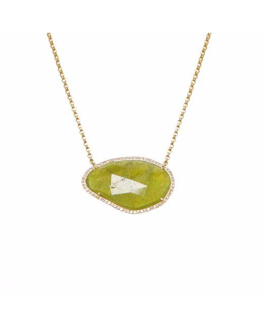 Ri Noor - Green Sapphire Slide & Diamond Necklace - Lyst