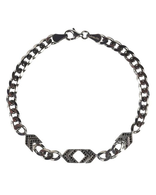 Latelita - Metallic Mens Arrow Chevron Bracelet Oxidised Sterling Silver for Men - Lyst