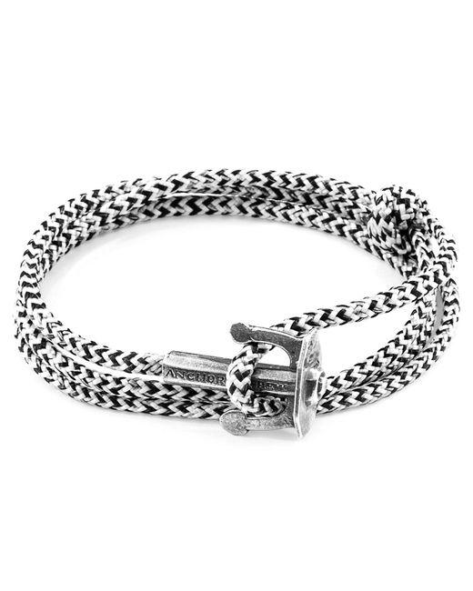 Anchor & Crew - White Noir Union Silver & Rope Bracelet for Men - Lyst
