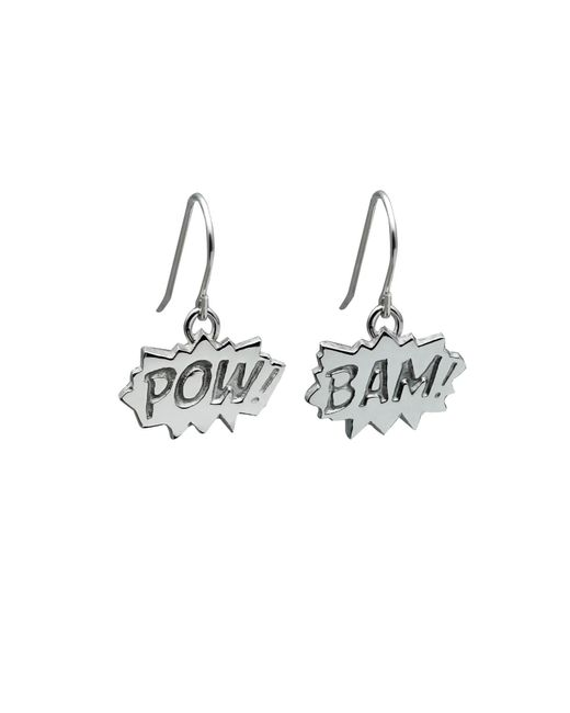 Edge Only Metallic Pow And Bam Drop Earrings In Silver