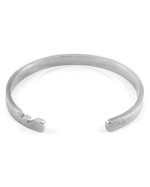 Anchor & Crew - Metallic Axton Anchor Cutout Silver Bangle for Men - Lyst