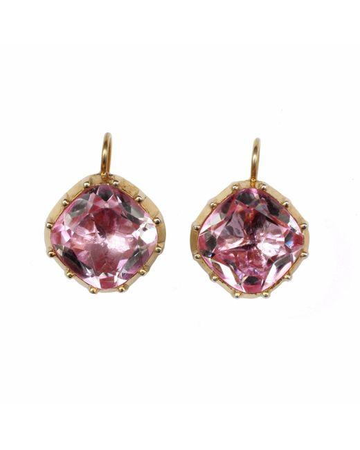 Alexander Quin London | Georgian Style 10mm Cushion Shape Rock Crystal Earrings In Pink | Lyst