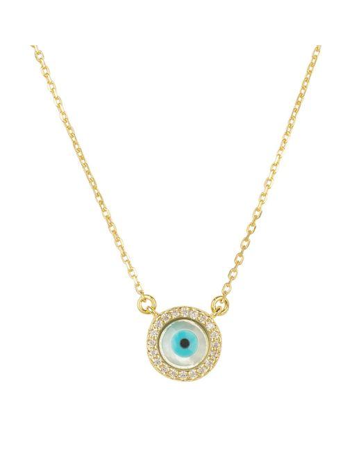 Latelita London Metallic Evil Eye Mother Of Pearl Necklace Cz Gold