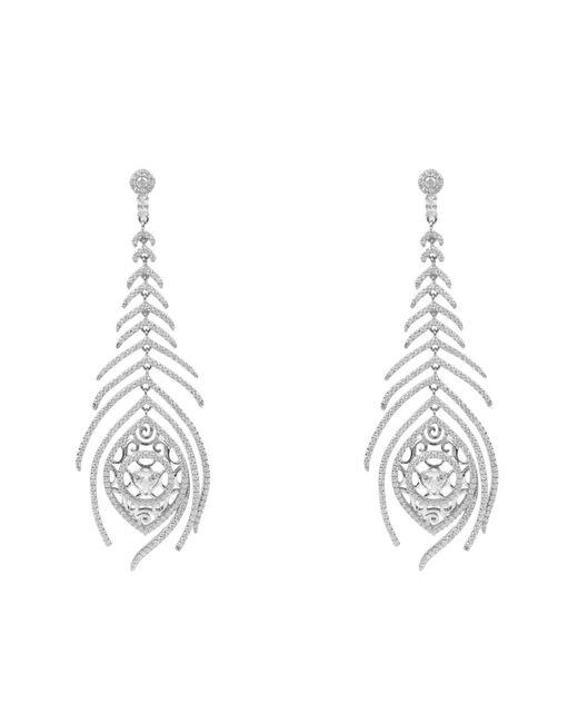 Latelita London - Metallic Peacock Feather Long Drop Earring Silver - Lyst