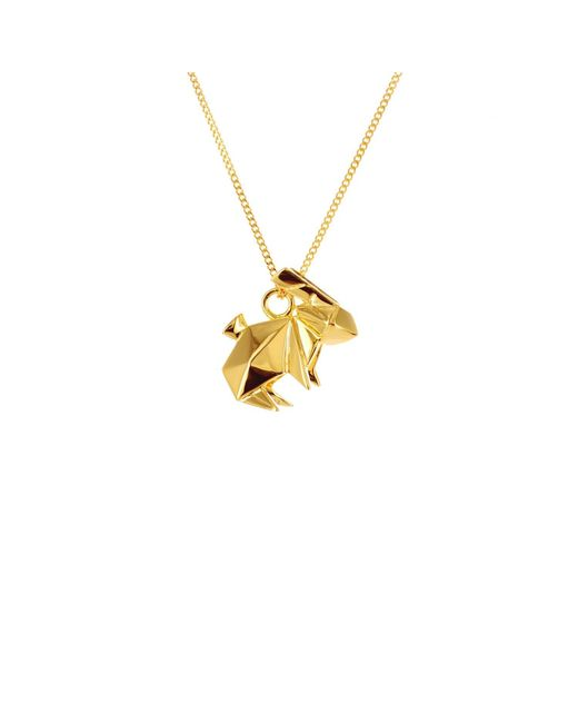 Origami Jewellery - Metallic Sterling Silver & Gold Mini Rabbit Origami Necklace - Lyst