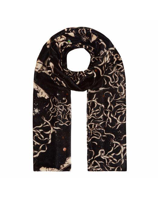 Klements - Black Long Velvet Scarf In Teargarden Print - Lyst