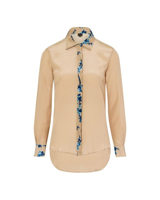Sophie Cameron Davies Natural Beige Printed Classic Silk Shirt