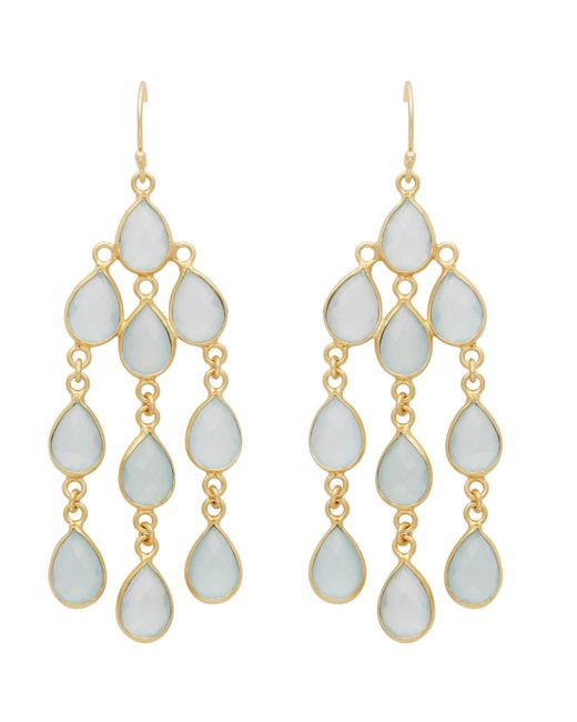 Carousel Jewels | Blue Aqua Chalcedony Dangle Earrings | Lyst