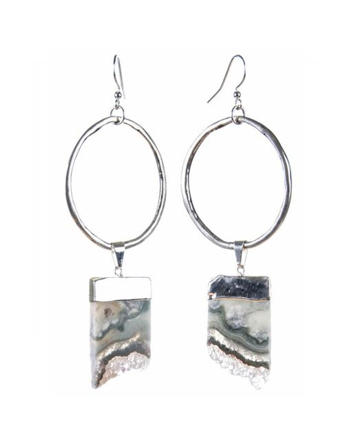 Tiana Jewel | Metallic Amethyst Violeta Silver Hoop Earrings Sari Collection | Lyst