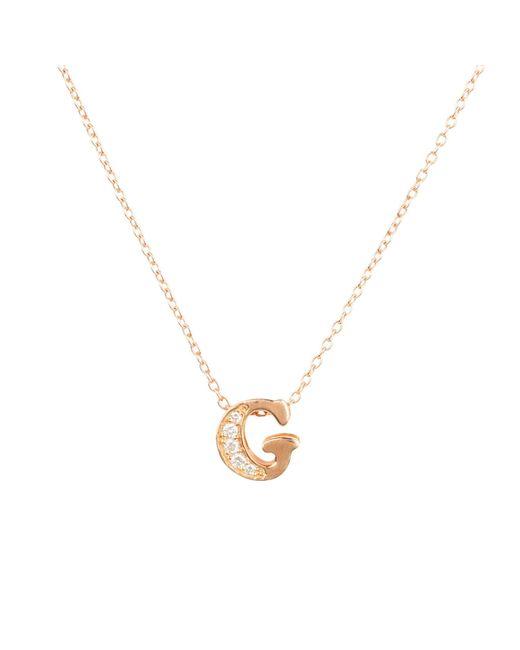 Latelita London Metallic Diamond Initial Letter Pendant Necklace Rose Gold G