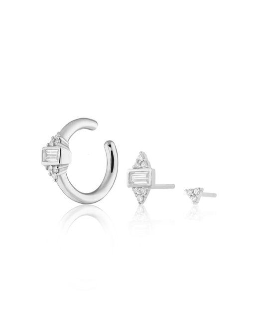 Scream Pretty Metallic Silver Audrey Set Of 3 Single Earrings