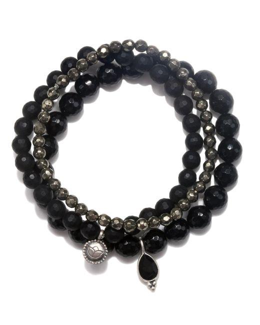 Satya Jewelry   Black Onyx & Pyrite Stretch Bracelet Set   Lyst