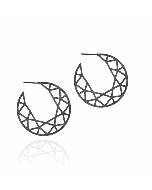 Myia Bonner - Black Brilliant Diamond Hoop Earrings - Lyst