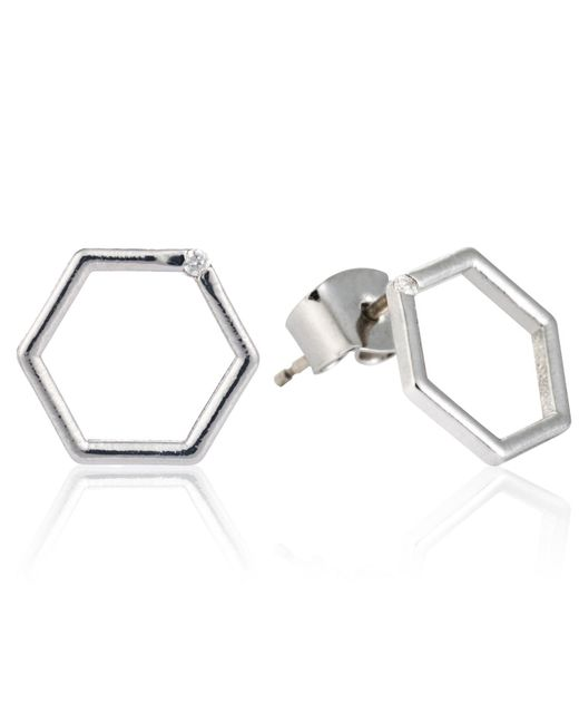 Astrid & Miyu | Metallic Hexagon Stud Earrings In Silver | Lyst
