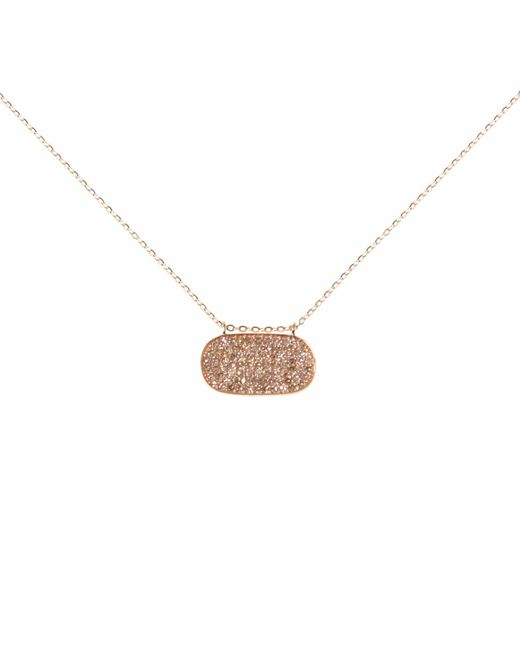 Ri Noor - Metallic Oval Diamond Pave Necklace - Lyst