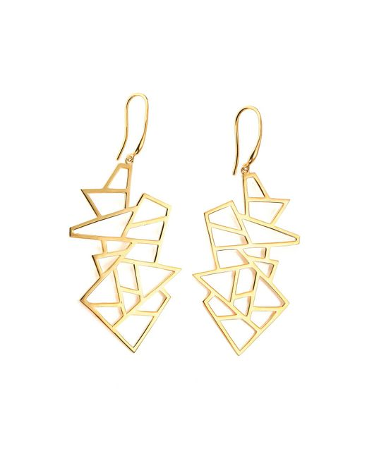 Ona Chan Jewelry | Metallic Multi Lattice Drop Earrings Yellow Gold | Lyst