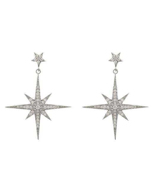 Latelita London - Metallic Star Burst Drop Earring Silver - Lyst